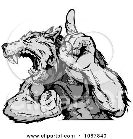 Clipart Victorious Wolf Mascot Flexing His Arm And Holding Up A Finger - Royalty Free Vector Illustration by Chromaco