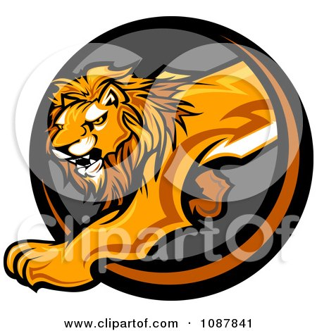 Clipart Prowling Lion Mascot Stepping Through A Circle - Royalty Free Vector Illustration by Chromaco