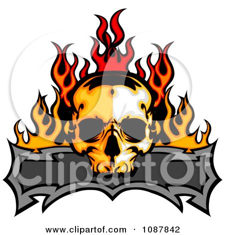 Fiery Skull And Blank Banner With Flames Posters, Art Prints