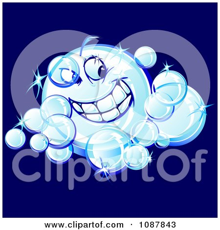 Clipart Smiling Sparkly Bubble Character - Royalty Free Vector Illustration by Chromaco