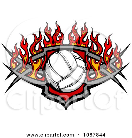 Clipart Volleyball Shield With Flames - Royalty Free Vector Illustration by Chromaco