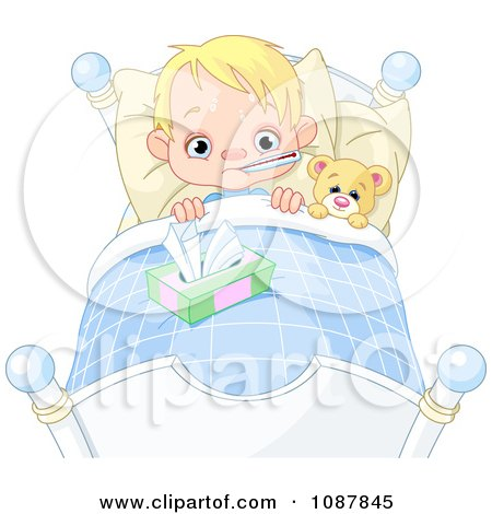 Clipart Sick Blond Boy Sweating With A Fever In Bed With A Teddy Bear - Royalty Free Vector Illustration by Pushkin