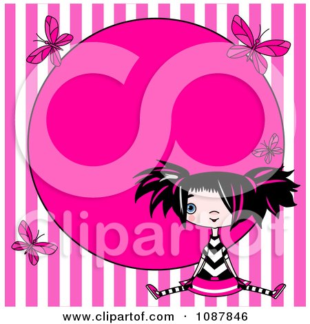 Clipart Punky Girl Sitting Over Pink Stripes With Butterflies And Circle Frame - Royalty Free Vector Illustration by Pushkin
