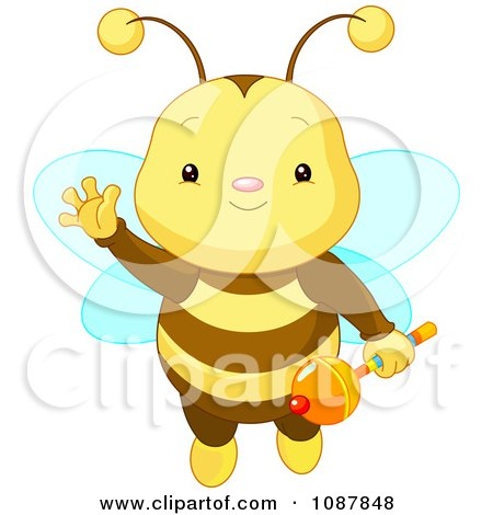 Clipart Cute Baby Bee Holding A Rattle And Waving - Royalty Free Vector Illustration by Pushkin
