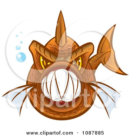 Clipart Vicious Orange Piranha Fish With Sharp Teeth - Royalty Free Vector Illustration by Paulo Resende