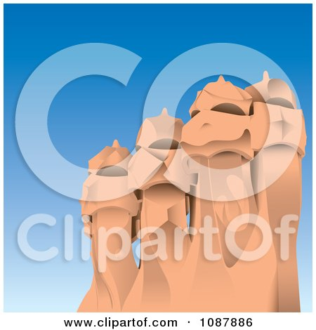 Clipart The Gaudi Chimneys Of La Pedrera In Barcelona Spain - Royalty Free Vector Illustration by Paulo Resende