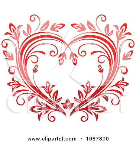 Clipart Heart Of Red Floral Vines - Royalty Free Vector Illustration by Vector Tradition SM