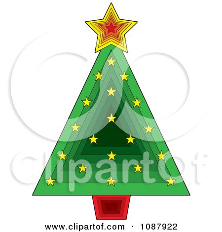 Clipart Green Triangle Christmas Tree With - Royalty Free Vector Illustration by Maria Bell