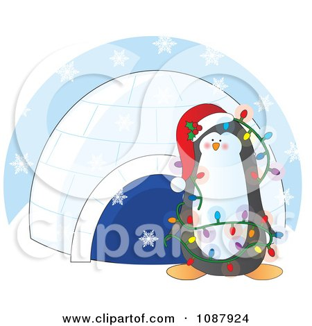 Clipart Christmas Penguin Decked Out In Lights By An Igloo In The Snow - Royalty Free Vector Illustration by Maria Bell