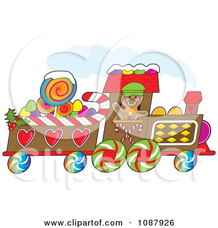 Clipart Gingerbread Train Driver Waving And Passing By - Royalty Free Vector Illustration by Maria Bell