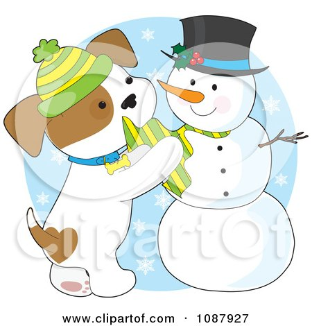 Clipart Winter Puppy Putting A Scarf On A Snowman - Royalty Free Vector Illustration by Maria Bell