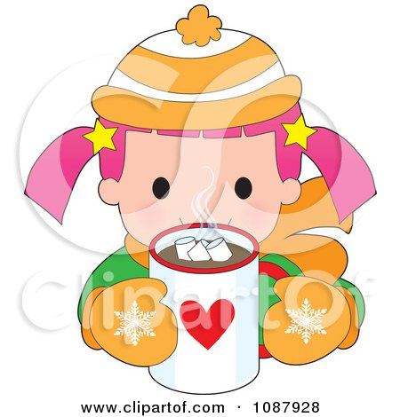 Clipart Winter Girl Drinking Hot Chocolate - Royalty Free Vector Illustration by Maria Bell
