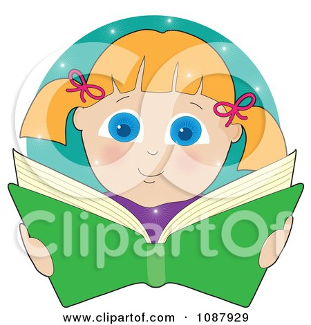 Clipart Blond Girl Smiling And Reading A Book - Royalty Free Vector Illustration by Maria Bell