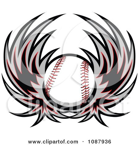 Clipart Winged Baseball - Royalty Free Vector Illustration by Chromaco