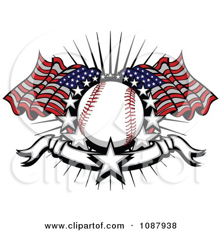 Clipart Baseball With American Flags Stars And A Banner - Royalty Free Vector Illustration by Chromaco