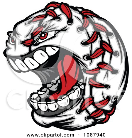 Clipart Screaming Baseball With Red Stitches - Royalty Free Vector Illustration by Chromaco