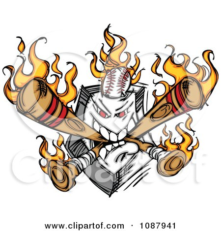 Clipart Home Baseball Plate With Flaming Crossed Bats And A Ball - Royalty Free Vector Illustration by Chromaco