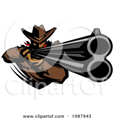 Clipart Western Cowboy Mascot Aiming A Rifle - Royalty Free Vector Illustration by Chromaco