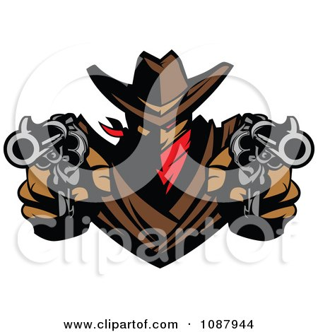 Clipart Western Cowboy Outlaw Pointing Two Pistols - Royalty Free Vector Illustration by Chromaco