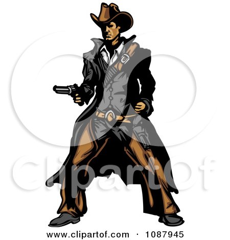 Clipart Western Gunslinger Cowboy Mascot Holding A Pistol - Royalty Free Vector Illustration by Chromaco