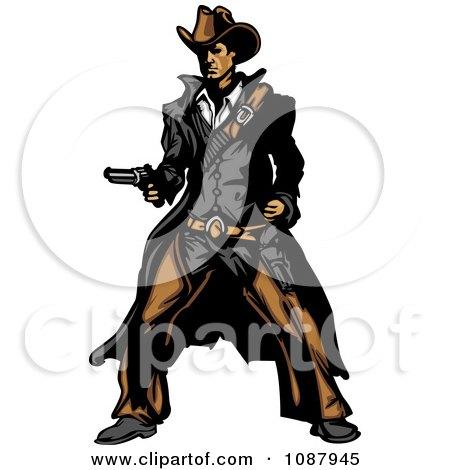 Western Gunslinger Cowboy Mascot Holding A Pistol Posters, Art Prints