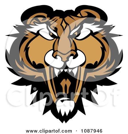 Clipart Roaring Puma Mountain Lion Head Mascot - Royalty Free Vector Illustration by Chromaco
