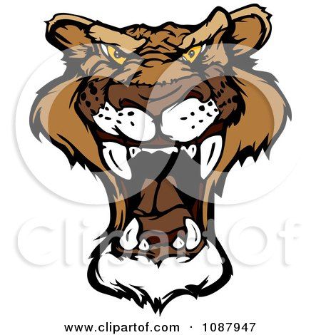 Clipart Roaring Mountain Lion Head Mascot - Royalty Free Vector Illustration by Chromaco