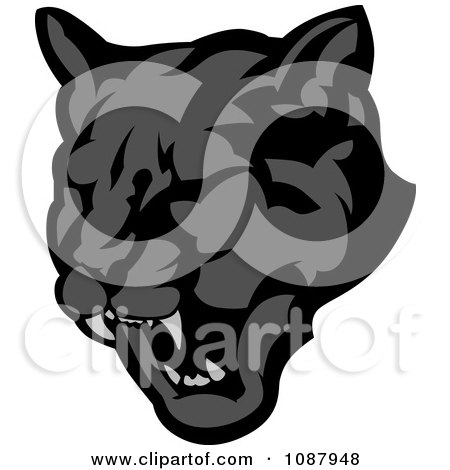 Clipart of a Black and White Roaring Panther - Royalty ...
