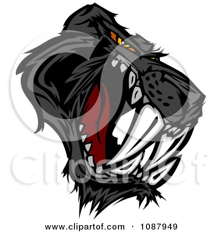 Clipart Aggressive Black Saber Toothed Or Panther Cat Mascot - Royalty Free Vector Illustration by Chromaco