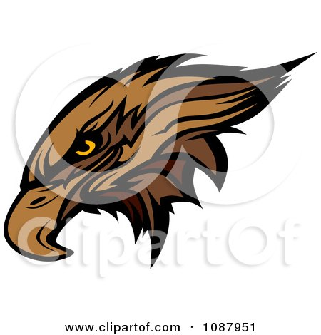 Clipart Mascot Brown Hawk Falcon Head - Royalty Free Vector Illustration by Chromaco