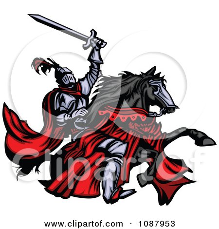 Clipart Medieval Knight Holding Up His Sword And Riding His Black Horse - Royalty Free Vector Illustration by Chromaco
