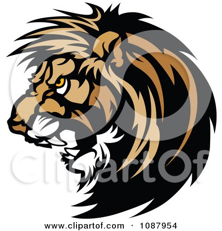 Clipart Vicious Male Lion Mascot Head - Royalty Free Vector Illustration by Chromaco