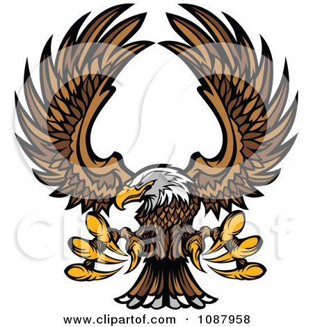 Clipart Flying Bald Eagle Mascot With Extended Talons - Royalty Free Vector Illustration by Chromaco