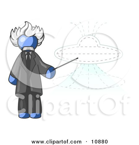 Blue Einstein Man Pointing a Stick at a Presentation of a Flying Saucer Clipart Illustration by Leo Blanchette