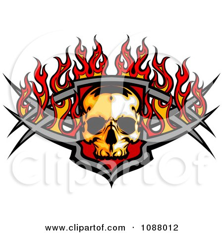 Clipart Fiery Skull And Metal Bars With Flames - Royalty Free Vector Illustration by Chromaco