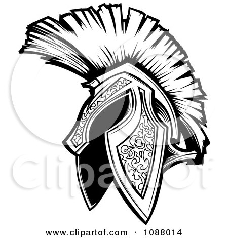 Clipart Black And White Spartan Trojan Helmet - Royalty Free Vector Illustration by Chromaco
