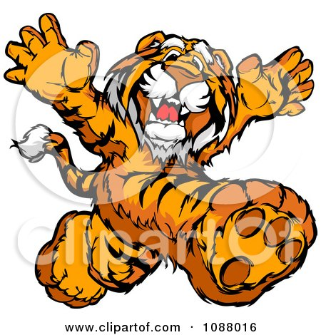 Clipart Happy Tiger Mascot Running Upright - Royalty Free Vector Illustration by Chromaco