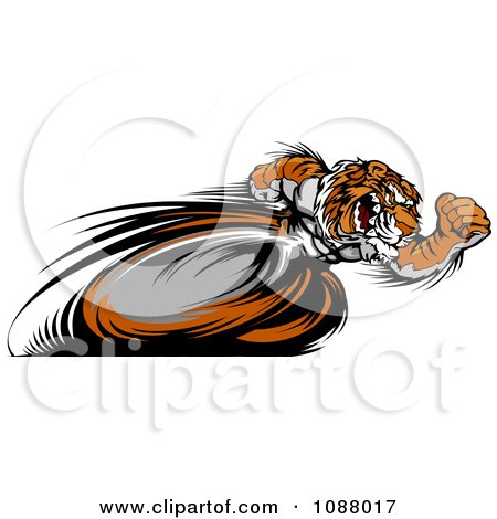 Clipart Fast Tiger Mascot Running Upright With Blurred Legs - Royalty Free Vector Illustration by Chromaco
