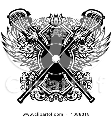 Clipart Black And White Crossed Lacrosse Sticks Over Wings - Royalty Free Vector Illustration by Chromaco