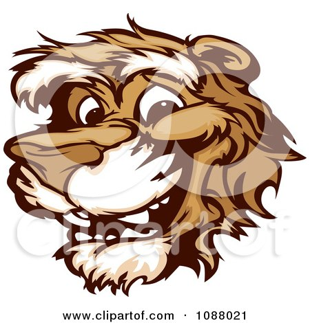 Clipart Smiling Cougar Mascot Face - Royalty Free Vector Illustration by Chromaco