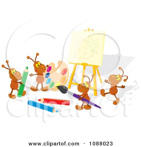 Clipart Ant Artists Working On A Strawberry Canvas - Royalty Free Vector Illustration by Alex Bannykh