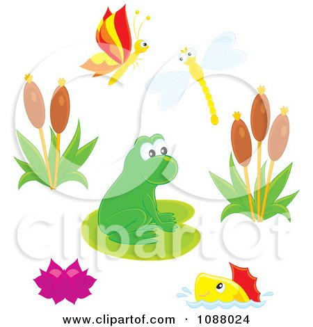 Clipart Cute Frog At A Busy Pond With Insects Fish And Plants - Royalty Free Vector Illustration by Alex Bannykh