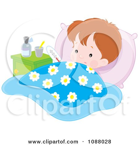 Clipart Feverish Boy With Medicine And A Thermometer In Bed - Royalty Free Vector Illustration by Alex Bannykh