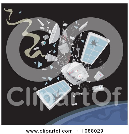 Clipart Satellite Crashing Down To Earth - Royalty Free Vector Illustration by Alex Bannykh