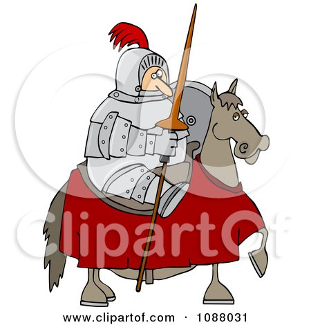 Clipart Jousting Knight Holding His Lance On His Horse - Royalty Free Vector Illustration by djart
