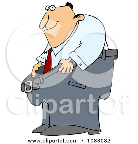 Clipart Man Smiling And Holding Out His Fat Pants - Royalty Free Vector Illustration by djart