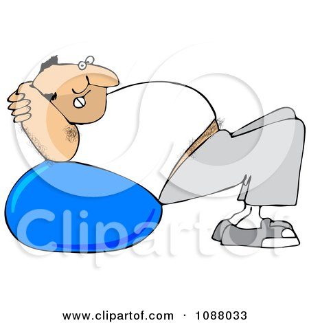Clipart Chubby Hairy White Man Exercising On A Ball - Royalty Free Vector Illustration by djart