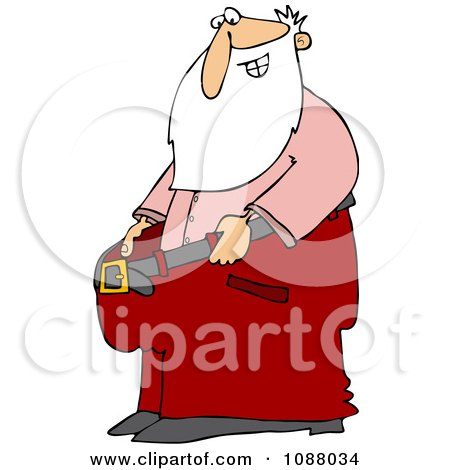 Clipart Thin Santa Holding Out His Big Pants After Losing Weight - Royalty Free Vector Illustration by djart