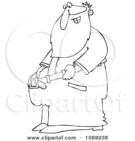 Clipart Outlined Fit Santa Holding Out His Big Pants After Losing Weight - Royalty Free Vector Illustration by djart
