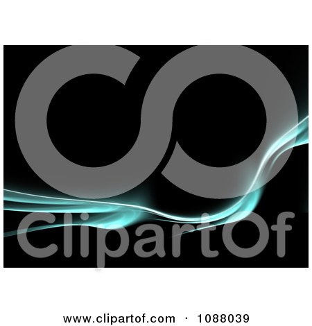 Clipart Turquoise Electric Fractal Wave Flowing On Black - Royalty Free CGI Illustration by Arena Creative